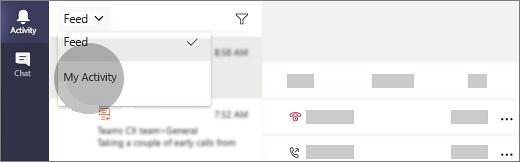 Izberite» moja dejavnost «v aplikaciji teams.