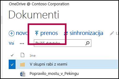 Gumb »Prenesi« v vrstici s hitrimi ukazi v storitvi OneDrive