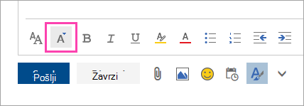 Posnetek zaslona gumba za velikost pisave