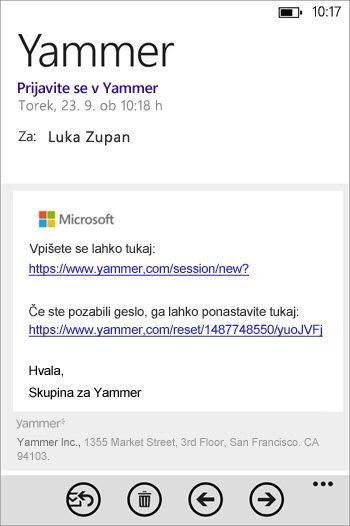 E-poštno sporočilo za prijavo