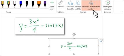 Rokopisna enačba in ista enačba, pretvorjena v oblikovano besedilo in številke