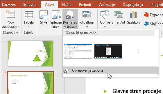 spustni seznam za izrezek zaslona v PowerPointu