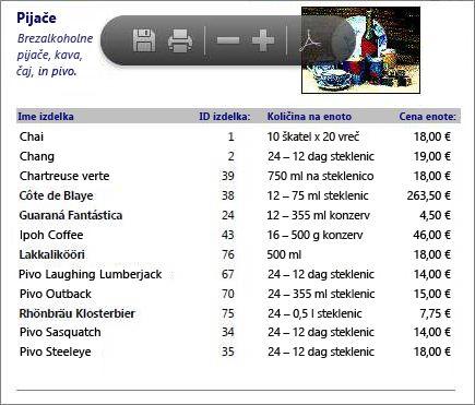 Vdelana datoteka PDF kataloga z izdelki, prikazana v bralniku Adobe PDF Reader