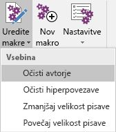 Meni »Urejanje makrov« v dodatku Onetastic za OneNote