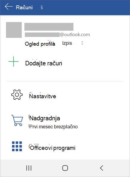 Prikazuje možnost izpisa za Office v napravi Android