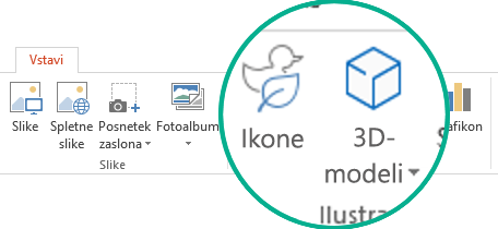 Gumbi za ikone in 3D-modele na zavihku »Vstavljanje« na traku orodne vrstice v storitvi Office 365