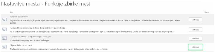 Aktivacija funkcije za objavljanje v več zbirkah spletnih mest