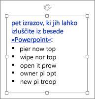 Oblikovanje v polju z besedilom v PowerPointu