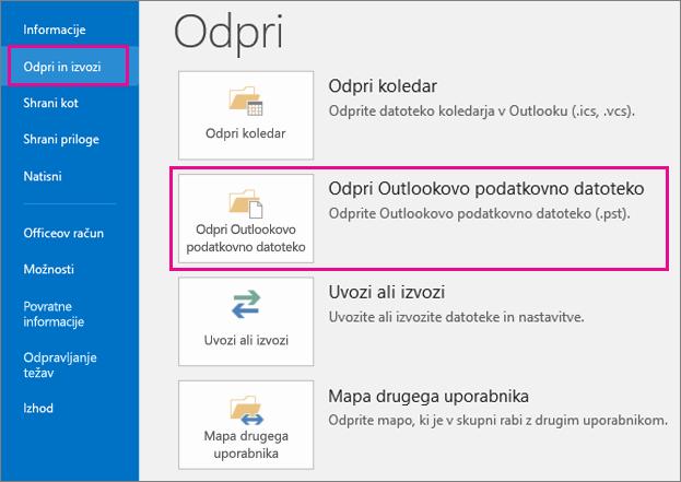 Kako odpreti datoteko PST za ogled e-pošte v datoteki PST.