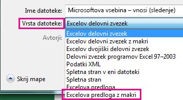 Izberite Excelova predloga z omogočenimi makri.