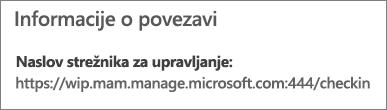 Upravljanje po strani prikazuje URL informacij o povezavi, ki vključuje besedi »mam« in »wpi«.