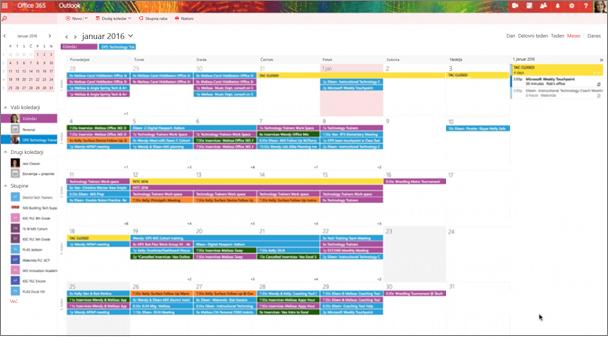Primer koledarja skupine z barvnim označevanjem, ki ločuje različne skupine.