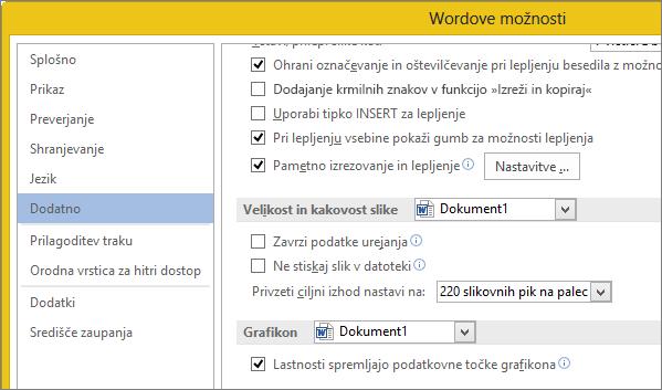 Možnosti velikosti in kakovosti slike v Wordu
