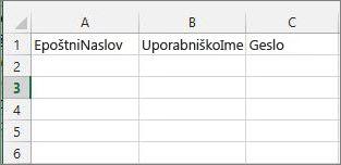 Naslovi celic v Excelovi selitveni datoteki.