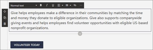 Možnosti oblikovanja za spletni gradnik za besedilo med urejanjem sodobne strani v SharePointu
