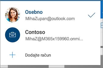 Preklapljanje med računi v aplikaciji OneDrive za Android
