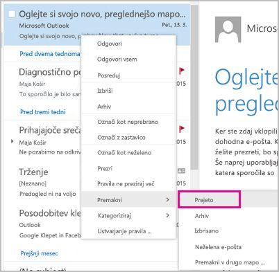 Obnovitev e-pošte in premik v mapo »Prejeto«