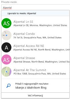 Predlagani mesta so na voljo prek storitve Bing