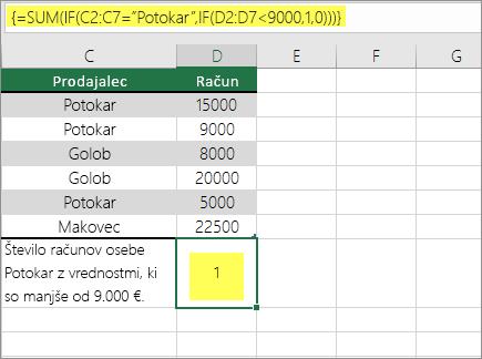 Primer 3: SUM in če je ugnezden v formuli
