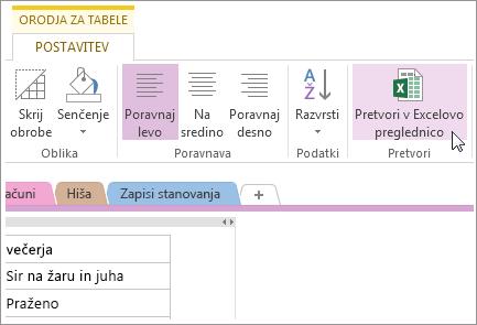 Pretvarjanje OneNoteove strani v Excelovo preglednico
