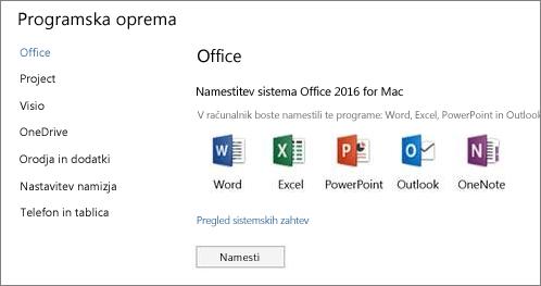 Zaslon namestitvene programske opreme za nastavitve storitve Office 365 v računalniku Mac