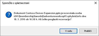 posnetek zaslona z opozorilom glede sprostitve datoteke drugega uporabnika