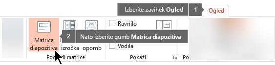 Uporabite zavihek »Pogled« v PowerPointu, da preklopite na »Pogled matrice diapozitiva«