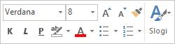 Mini orodna vrstica za oblikovanje besedila sporočila
