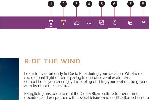 Posnetek zaslona z zapiski in označenimi stavki na spletnih straneh