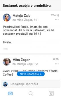 Izkušnja novega pogovora v Outlooku za iOS