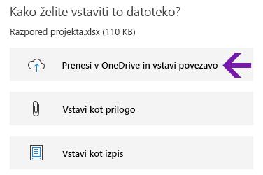Možnosti vstavljanja datoteke v OneNotu za Windows 10