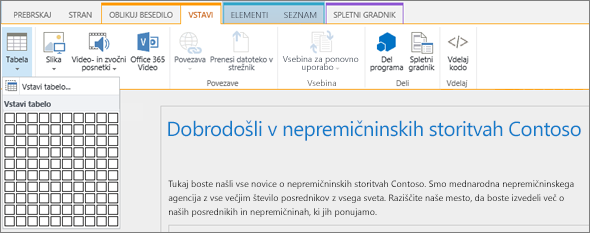 Posnetek zaslona traku za SharePoint Online. Izberite zavihek »Vstavljanje« in nato kliknite »Vstavi tabelo«, če želite določiti število vrstic in stolpcev za novo tabelo.