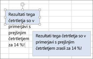 Spreminjanje velikosti polja z besedilom, da ustreza vsebini
