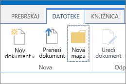 Zavihek »Datoteka «na traku z označenim gumbom »Nova mapa«