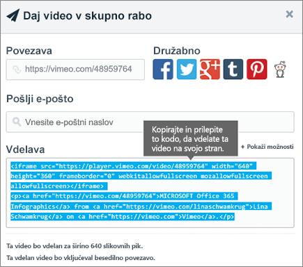 Primer uporabe vdelane kode za vdelavo vsebine na SharePointovo stran