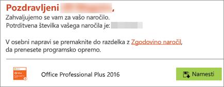 Pokaže gumb »Namesti« v e-poštnem sporočilu programa Home Use Program