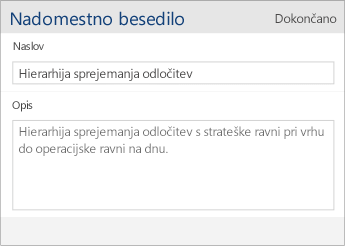 Posnetek zaslona pogovornega okna za nadomestno besedilo v programu Word Mobile, ki vsebuje polji »Naslov« in »Opis«.