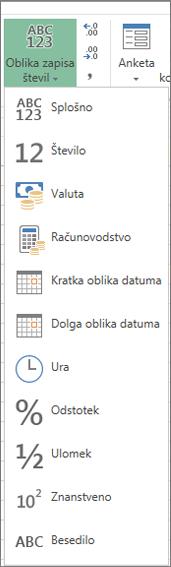Oblike zapisov števil, ki so na voljo