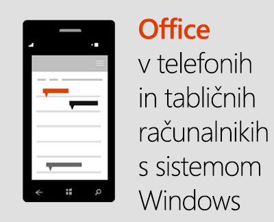 Officeove mobilne aplikacije v telefonih s sistemom Windows