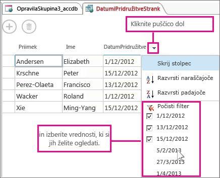 Filtriranje stolpca v poizvedbi v spletnem Accessu.