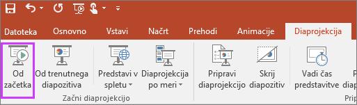 Prikazuje gumb »od začetka« na zavihku za diaprojekcijo v PowerPointu