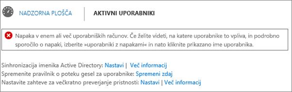 Označevanje napak pri sinhronizaciji imenika na vrhu strani aktivnih uporabnikov