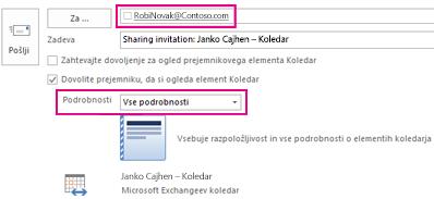Povabilo k zunanji skupni rabi e-poštnega nabiralnika – polje »Za« in nastavitev »Podrobnosti«