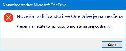 Pojavno okno napake OneDrive