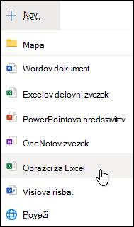 Možnost »Vstavi obrazec za Excel« v storitvi Excel Online