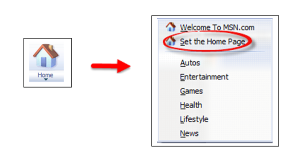 MSN Home icon to Set the Home Page in drop down