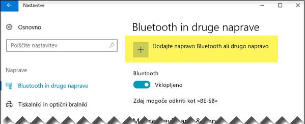 Dodajanje naprave Bluetooth