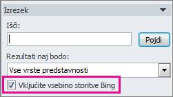 Potrditveno polje »Vključi vsebino storitve Bing«