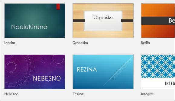 Prikaže teme v PowerPointu v razdelku »Datoteka« > »Novo«