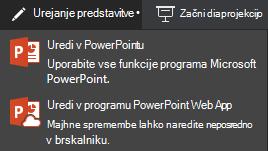 Urejanje v programu PowerPoint online